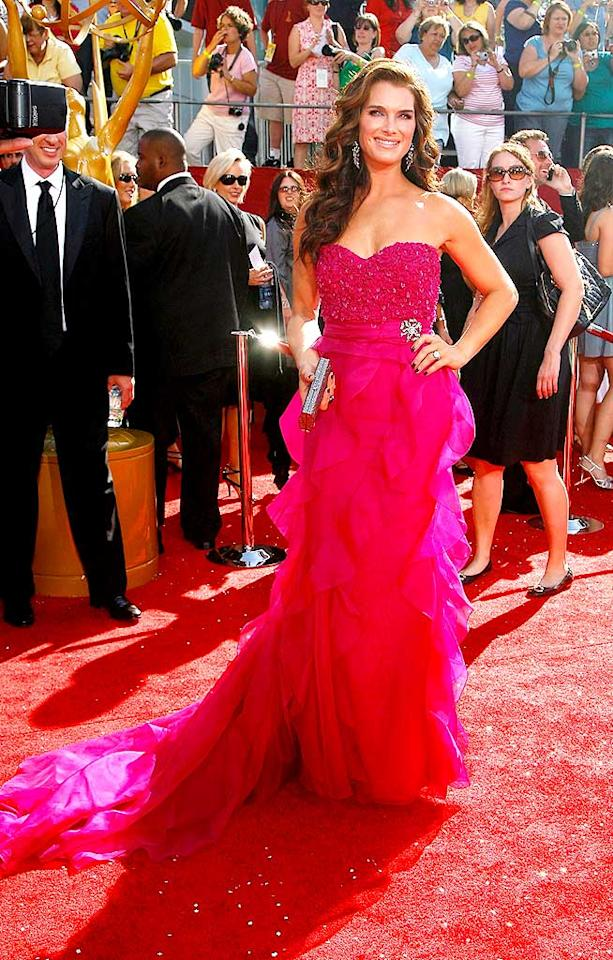 """Brooke Shields was undoubtedly the best dressed beauty at the 2008 Emmys thanks to this flawless fuchsia frock from Badgley Mischka. Mathew Imaging/<a href=""""http://www.wireimage.com"""" target=""""new"""">WireImage.com</a> - September 21, 2008"""
