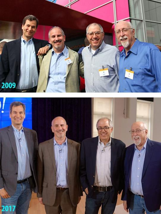 From left: Pogue, Baig, Levy, Mossberg. (Photos: Adam Tow, David Pogue)
