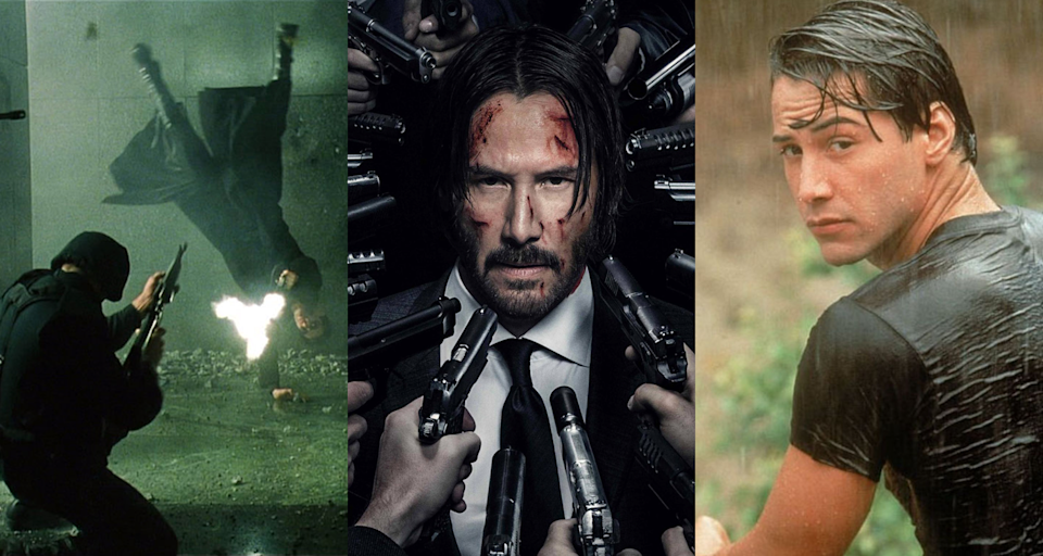 Keanu in 'The Matrix', 'John Wick: Chapter 2' and 'Point Break'. (Credits: Fox / Summit)