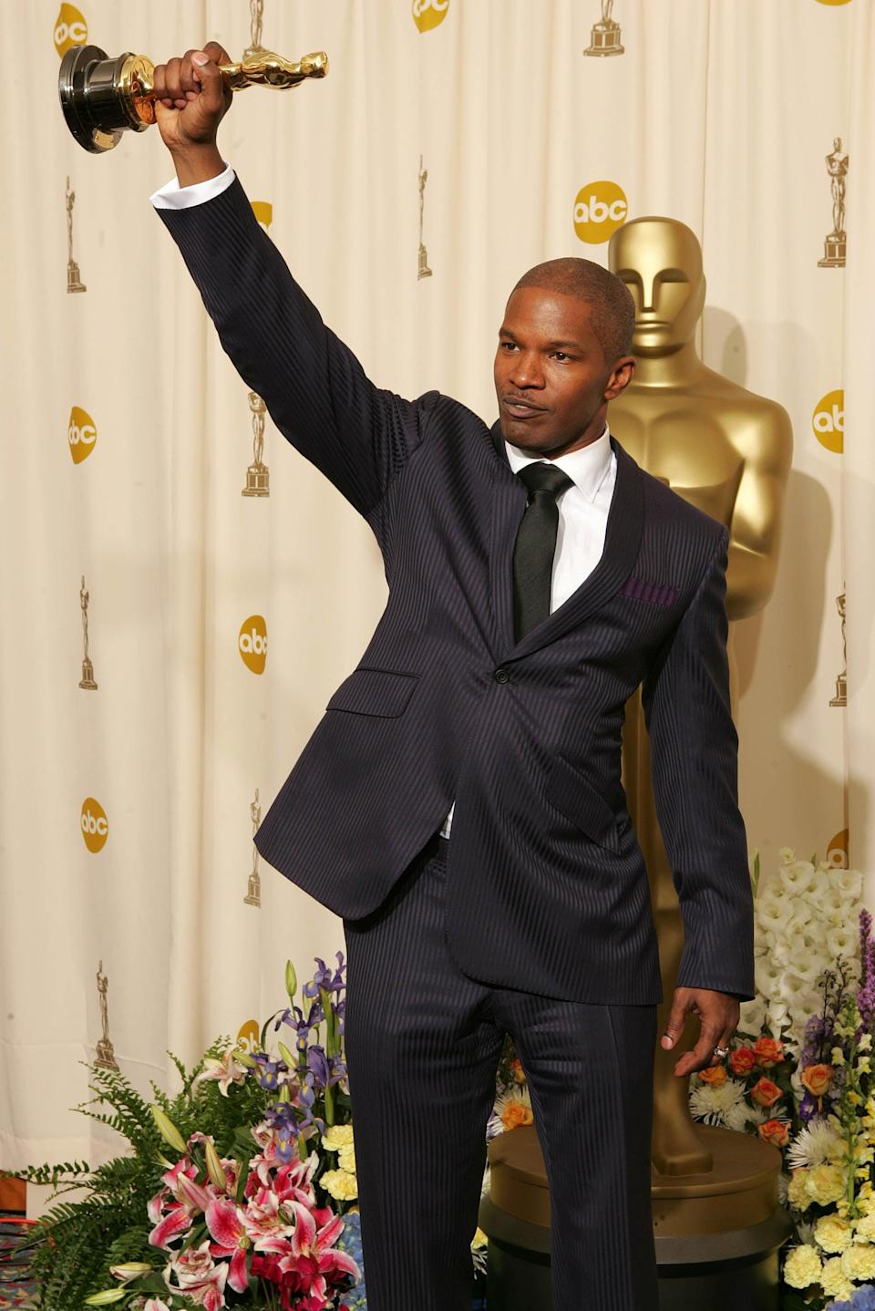 """<ul> <li><strong>Has:</strong> An Oscar for his role in <strong>Ray</strong> and two Grammys for """"Gold Digger"""" and """"Blame It""""</li> <li><strong>Needs:</strong> A Tony and an Emmy</li> </ul>"""
