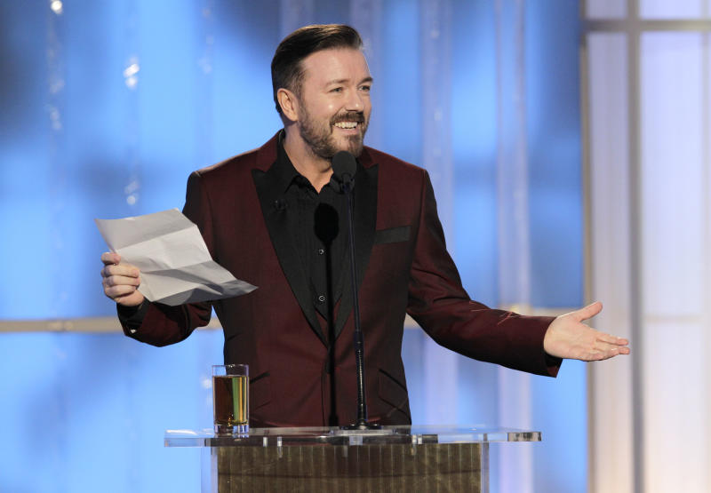BEVERLY HILLS, CA - JANUARY 15: In this handout photo provided by NBC, host Ricky Gervais performs onstage during the 69th Annual Golden Globe Awards at the Beverly Hilton International Ballroom on January 15, 2012 in Beverly Hills, California. (Photo by Paul Drinkwater/NBC via Getty Images)