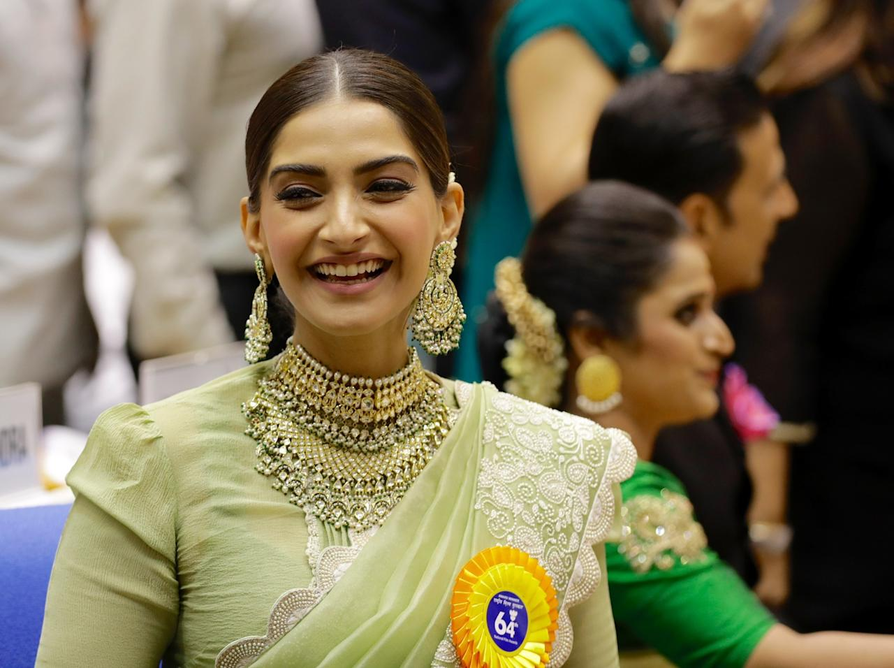 <p>Bollywood actress Sonam Kapoor attends the award ceremony for the 64th National Film Awards in New Delhi, India, Tuesday, May 3, 2017. Kapoor won the Special Jury Award for her role in the feature film Neerja. (AP Photo/Manish Swarup) </p>