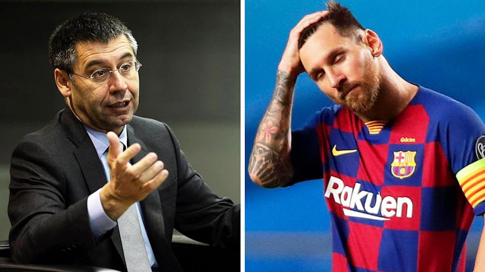 The fallout to the Lionel Messi (pictured right) drama continues after Barcelona president Josep Bartomeu (pictured left) resigned. (Getty Images)