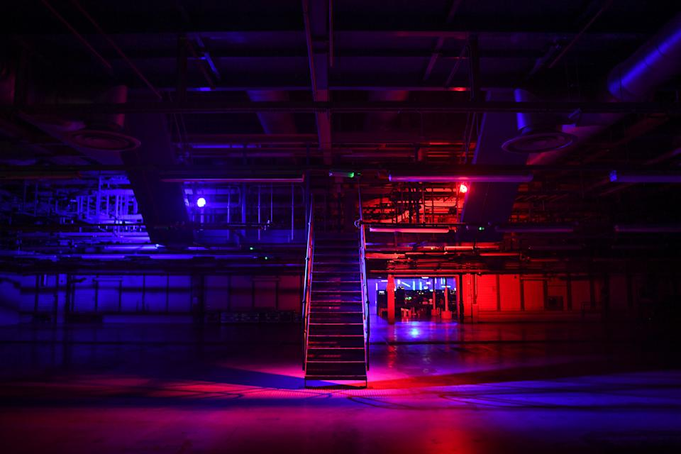 LONDON, ENGLAND - OCTOBER 27: Lights are seen inside an empty warehouse at Printworks nightclub on October 27, 2020 in London, England.The 5,000-capacity music venue, Printworks, which is housed in the former Daily Mail and Evening Standard printing plant in Surrey Quays, has been rejected for Cultural Recovery Fund assistance. The Arts Council England has handed out £330m to the culture industry to compensate for closures during the Coronavirus pandemic. Printworks is counted at No. 5 in DJ Magazine's Top 100 clubs poll in 2020 and is part of the Broadwick Group which also includes Depot Mayfield, currently the home of Manchester's Warehouse Project, Exhibition London and The Drumsheds, all were denied funding. (Photo by Peter Summers/Getty Images)