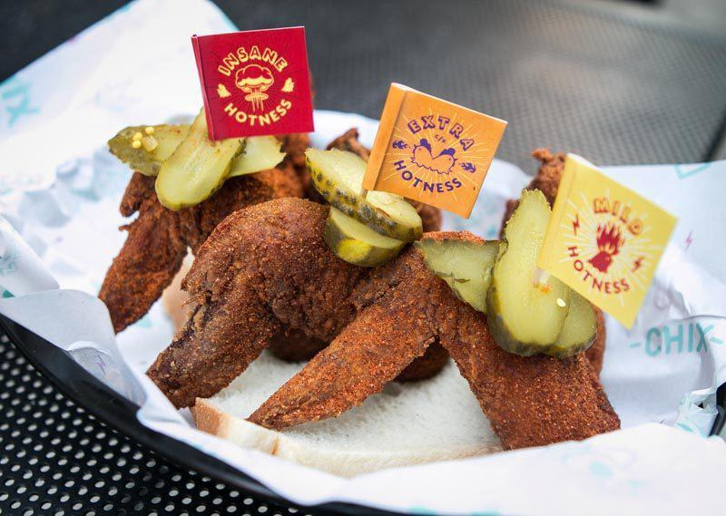three different spice levels for wings at chix hot chicken