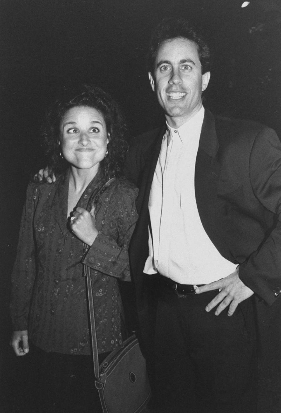 <p><em>Seinfeld </em>costars, Louis-Dreyfus and Seinfeld attend an NBC network party together. </p>