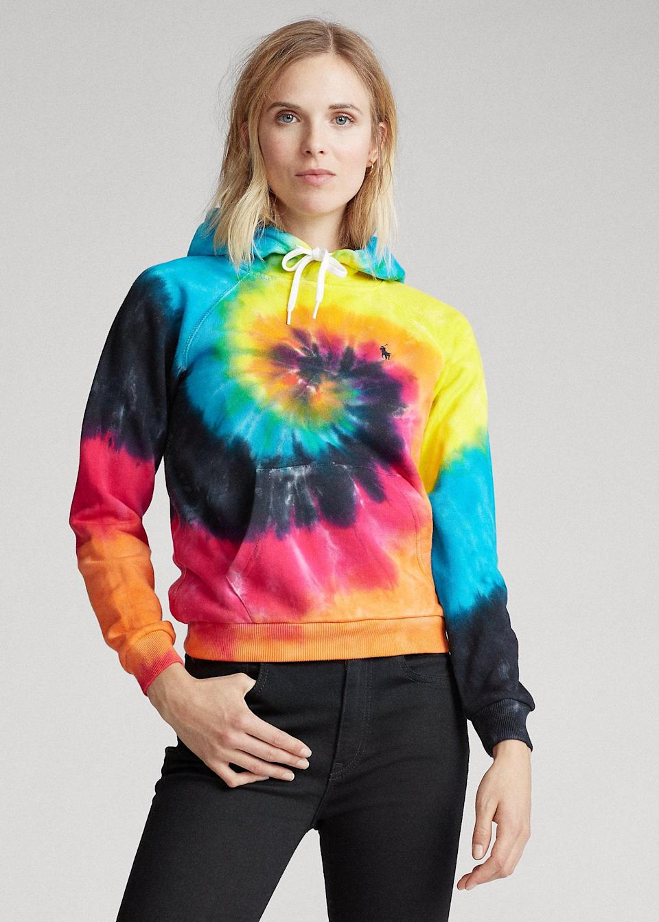 "$148, Ralph Lauren. <a href=""https://www.ralphlauren.com/women-gated-sale/shrunken-fit-tie-dye-hoodie/506529.html"" rel=""nofollow noopener"" target=""_blank"" data-ylk=""slk:Get it now!"" class=""link rapid-noclick-resp"">Get it now!</a>"