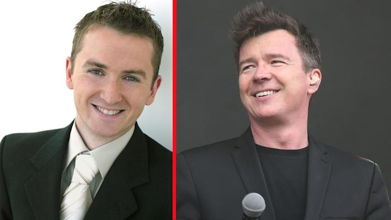 BBC Breakfast presenter Matt Taylor put his foot in his mouth in front of pop star Rick Astley (PA/AP)