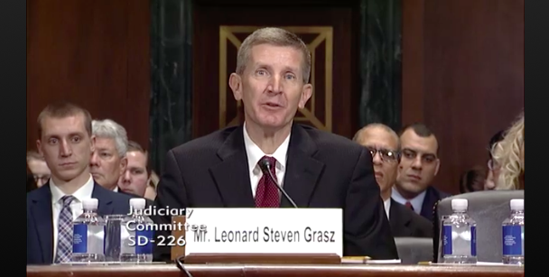"Here's Leonard Steven Grasz in his confirmation hearing, listening to Democratic senators read aloud all the reasons why he was deemed ""not qualified"" to be a judge. (CSPAN)"