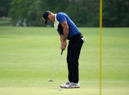 May 19, 2019; Bethpage, NY, USA; Brooks Koepka putts on the seventh green during the final round of the PGA Championship golf tournament at Bethpage State Park - Black Course. Mandatory Credit: Peter Casey-USA TODAY Sports