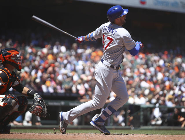 Chicago Cubs' Kris Bryant swings for a two-run home run off San Francisco Giants' Johnny Cueto in the fifth inning of a baseball game Wednesday, July 11, 2018, in San Francisco. (AP Photo/Ben Margot)