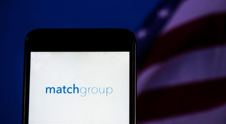mobile phone screen displaying match group's (MTCH) logo