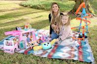 <p>Audrina Patridge and her daughter Kirra enjoy some outdoor time together with a variety of Mattel toys on Sunday in Beverly Hills. </p>