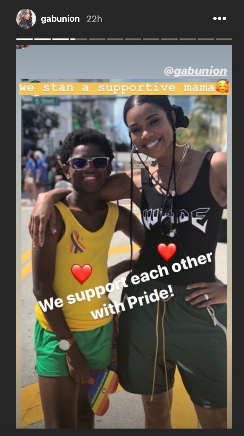 Gabrielle Union attends the Miami Pride Parade with Zion. (Photo: Gabrielle Union via Instagram)