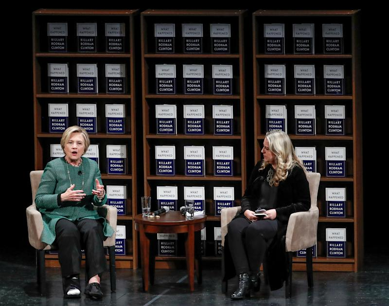 "Clinton spoke with author Cheryl Strayed in Chicago on Monday as part of her ""What Happened"" book tour. (Kamil Krzaczynski / Reuters)"