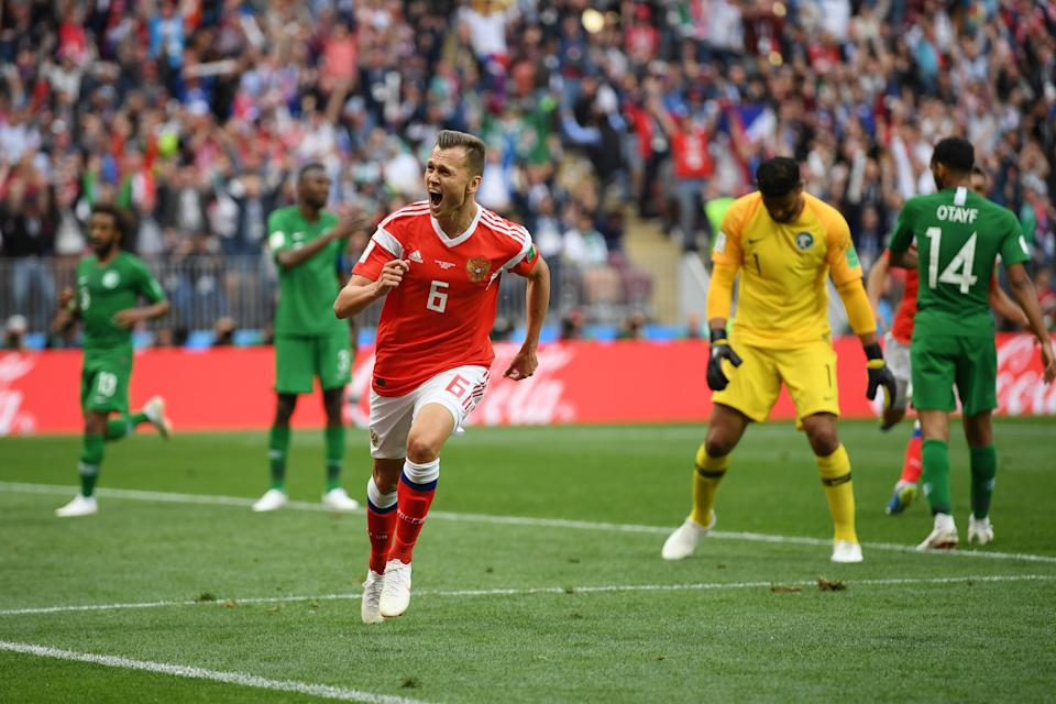 Denis Cheryshev celebrates Russia's second goal in its 2018 World Cup-opening win over Saudi Arabia. (Getty)
