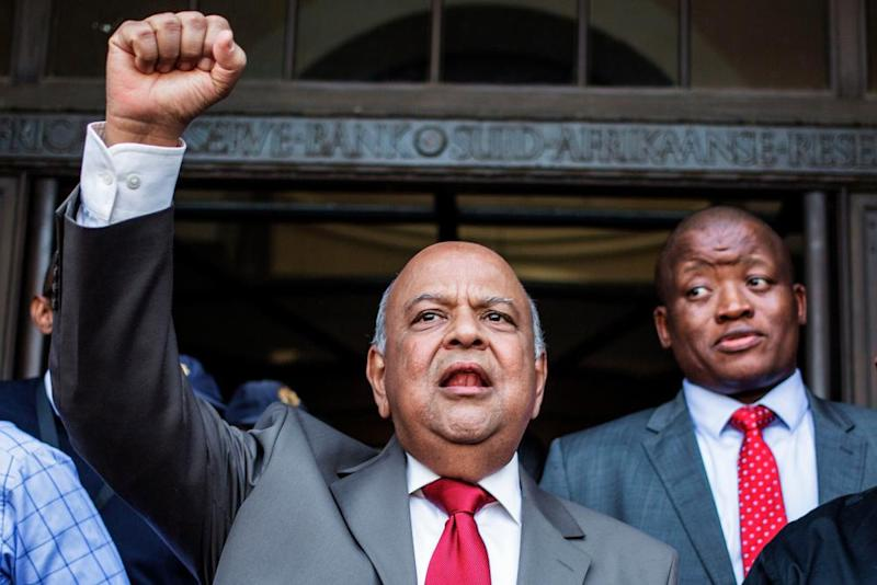 Pravin Gordhan addresses a group of supporters outside the national treasury in Pretoria.