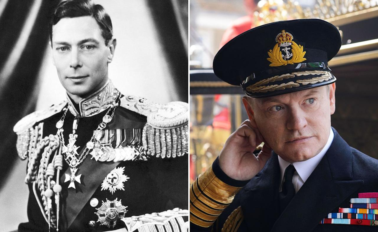 <p>Mad Men actor Jared Harris portrayed the late King George VI, who died of lung cancer at age 56 in the second episode of season one. </p>