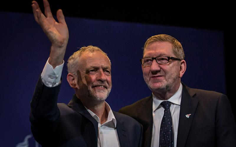Jeremy Corbyn, Leader of Labour Party, stands next to Len McCluskey, General Secretary of Unite - Credit: Rob Stothard/Getty