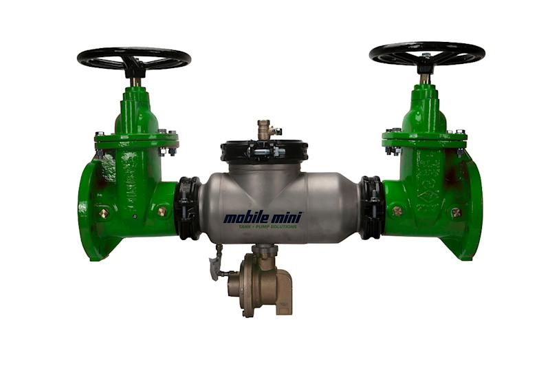 A backflow preventer valve with a Mobile Mini logo on it.