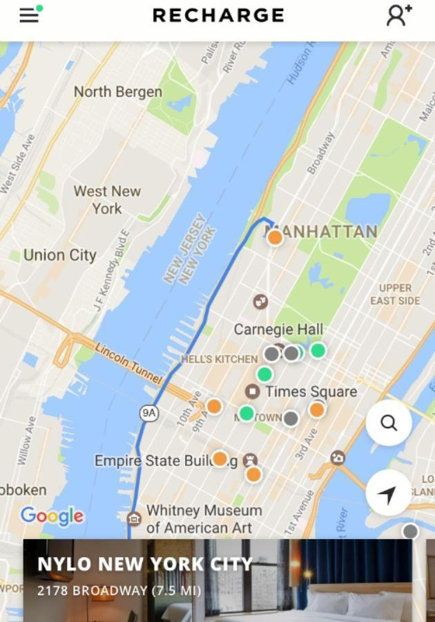 Available in New York and San Francisco, Recharge app allows you to find hotels in proximity and book them by the minute.