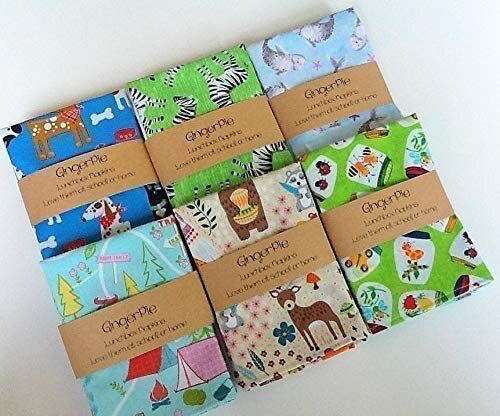 """Choose from over 40 fun prints and patterns of these cotton cloth napkins for kids. <strong><a href=""""https://amzn.to/2Kp8X4B"""" target=""""_blank"""" rel=""""noopener noreferrer"""">Find these GingerPieLunchbox Small Kids Napkins for $13 on Amazon</a>.</strong>"""