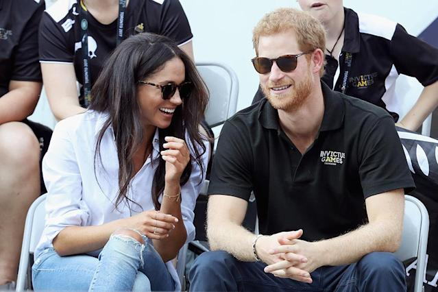 TORONTO, ON – SEPTEMBER 25: Prince Harry (R) and Meghan Markle (L) attend a Wheelchair Tennis match during the Invictus Games 2017 at Nathan Philips Square on September 25, 2017 in Toronto, Canada (Photo by Chris Jackson/Getty Images for the Invictus Games Foundation )