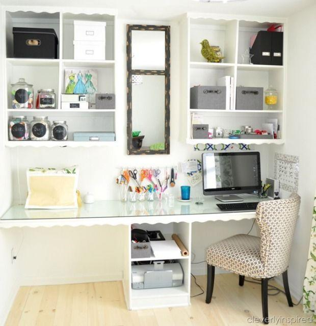 """<p><span class=""""redactor-invisible-space"""">But a fresh coat of white paint and cute organizers, like coordinating boxes and glass jars, <a href=""""http://www.goodhousekeeping.com/home/organizing/a25159/home-office-makeover/"""" rel=""""nofollow noopener"""" target=""""_blank"""" data-ylk=""""slk:turned it"""" class=""""link rapid-noclick-resp"""">turned it</a> into a place where she can get serious work done.</span><br></p><p><em><a href=""""http://cleverlyinspired.com/2013/03/officecraft-room-reveal/"""" rel=""""nofollow noopener"""" target=""""_blank"""" data-ylk=""""slk:See more at Cleverly Inspired »"""" class=""""link rapid-noclick-resp"""">See more at Cleverly Inspired »</a></em></p><p><span class=""""redactor-invisible-space""""><strong>What you'll need: </strong><span class=""""redactor-invisible-space"""">white paint, $4, <a href=""""https://www.amazon.com/Rust-Oleum-1990730-Painters-Touch-2-Pint/dp/B000I1E95I/?tag=syn-yahoo-20&ascsubtag=%5Bartid%7C10072.g.36006557%5Bsrc%7Cyahoo-us"""" rel=""""nofollow noopener"""" target=""""_blank"""" data-ylk=""""slk:amazon.com"""" class=""""link rapid-noclick-resp"""">amazon.com</a></span><br></span></p>"""