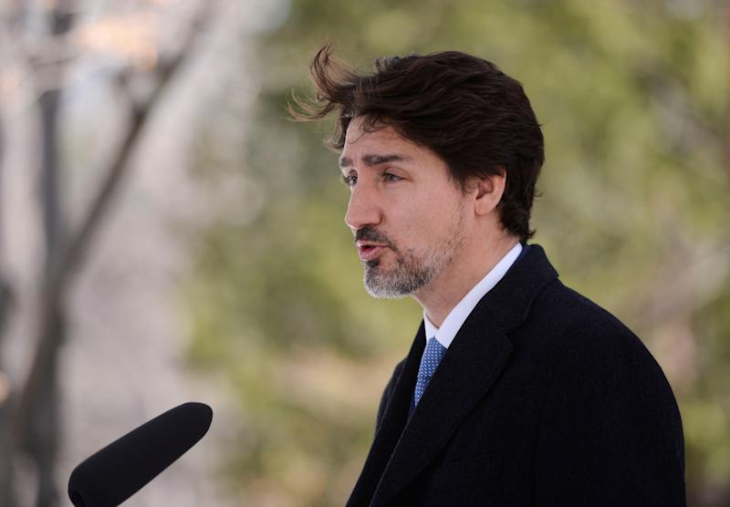 Prime Minister Justin Trudeau addresses Canadians on the COVID-19 pandemic from Rideau Cottage in Ottawa on April 7, 2020. (Photo: Sean Kilpatrick/CP)