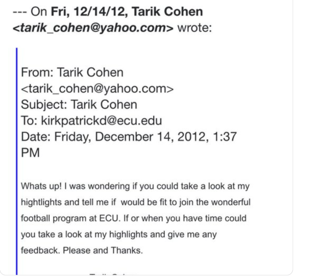 Tarik Cohen took to emailing college programs, asking anyone to give him a look. (Tarik Cohen/Twitter)