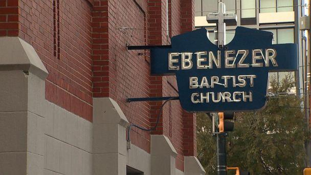 PHOTO: A sign of Atlanta's historic Ebenezer Baptist Church, the spiritual home of Dr. Martin Luther King, Jr, Nov. 17, 2019. (ABC News)