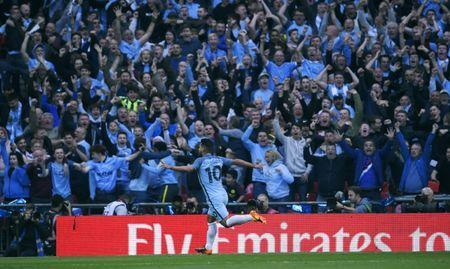 Britain Football Soccer - Arsenal v Manchester City - FA Cup Semi Final - Wembley Stadium - 23/4/17 Manchester City's Sergio Aguero celebrates scoring their first goal in front of fans Reuters / Toby Melville Livepic