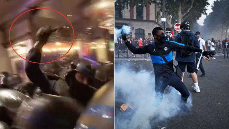 A riot police officer tangles with a member of a bar (pictured left) and a PSG fan masked up throwing tear gas.