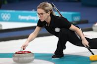 <p>Olympic Athlete from Russia Galina Arsenkina places a stone during a match against Great Britain in Session 1 of the Women's Round Robin curling competition at the 2018 Winter Olympic Games at Gangneung Curling Centre. Valery Sharifulin/TASS (Photo by Valery Sharifulin\TASS via Getty Images) </p>