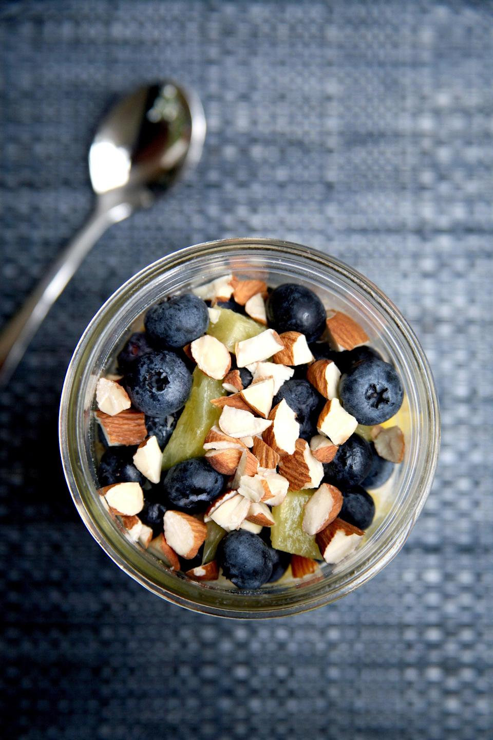 "<span>  </span> <p><b>Get the recipe:</b> <a href=""https://www.popsugar.com/fitness/Flat-Belly-Overnight-Oats-38687684"" class=""link rapid-noclick-resp"" rel=""nofollow noopener"" target=""_blank"" data-ylk=""slk:Blueberry-Pineapple Overnight Oats"">Blueberry-Pineapple Overnight Oats</a></p>"