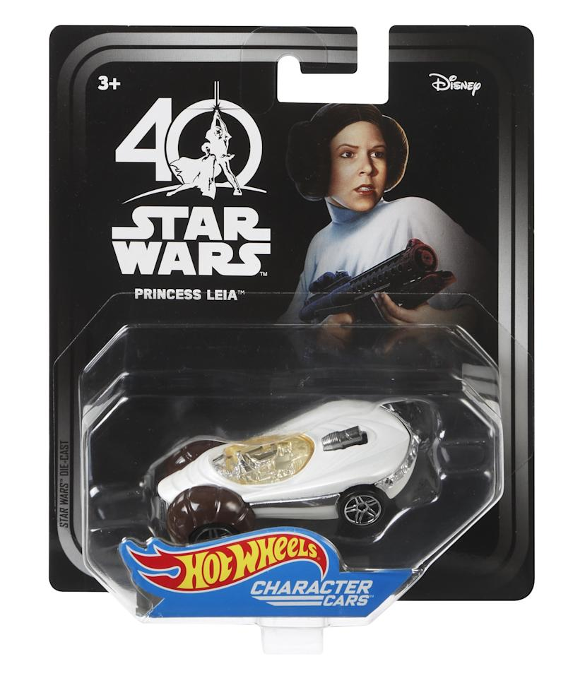 <p>Carrie Fisher's iconic buns provide inspiration for this character car. (Credit: Mattel) </p>