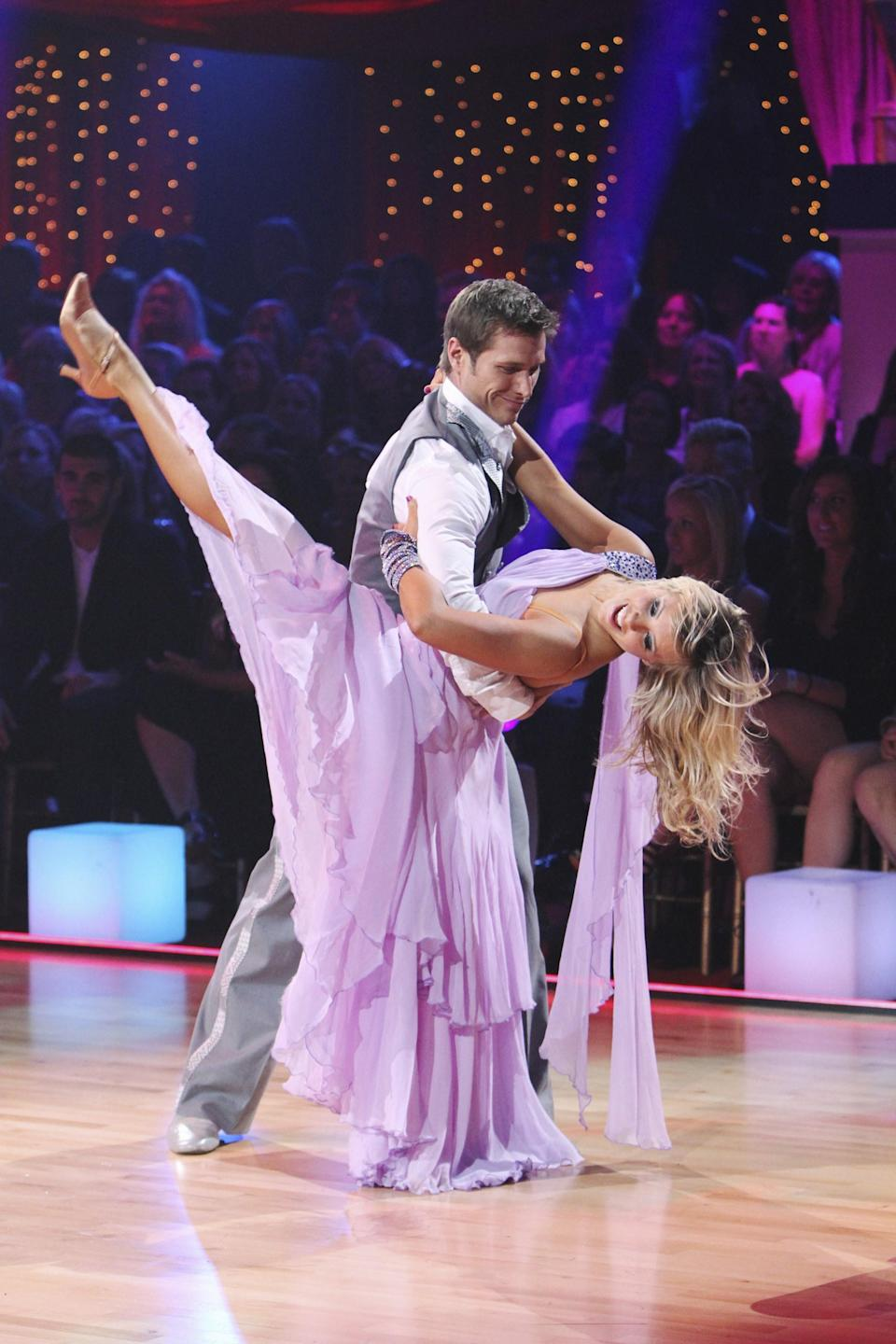 """Pavelka wasn't everyone's favorite Bachelor, but he definitely had the moves to win over the <em>DWTS</em> judges during season 10 in 2010. The pilot was eliminated in his sixth week but then invited back to perform in the finale with his then fiancée, Vienna Girardi, to the theme song of his <em>Bachelor</em> season, """"<a href=""""https://www.youtube.com/watch?v=PTp9qGMMFcE"""" rel=""""nofollow noopener"""" target=""""_blank"""" data-ylk=""""slk:On the Wings of Love"""" class=""""link rapid-noclick-resp"""">On the Wings of Love</a>."""""""