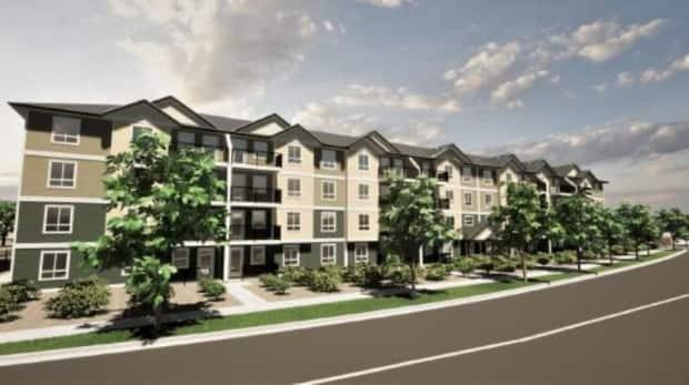 The 130-unit rental housing project, proposed by Broadstreet Properties and Seymour Pacific Developments, was voted down last week by Penticton city council. (City of Penticton - image credit)