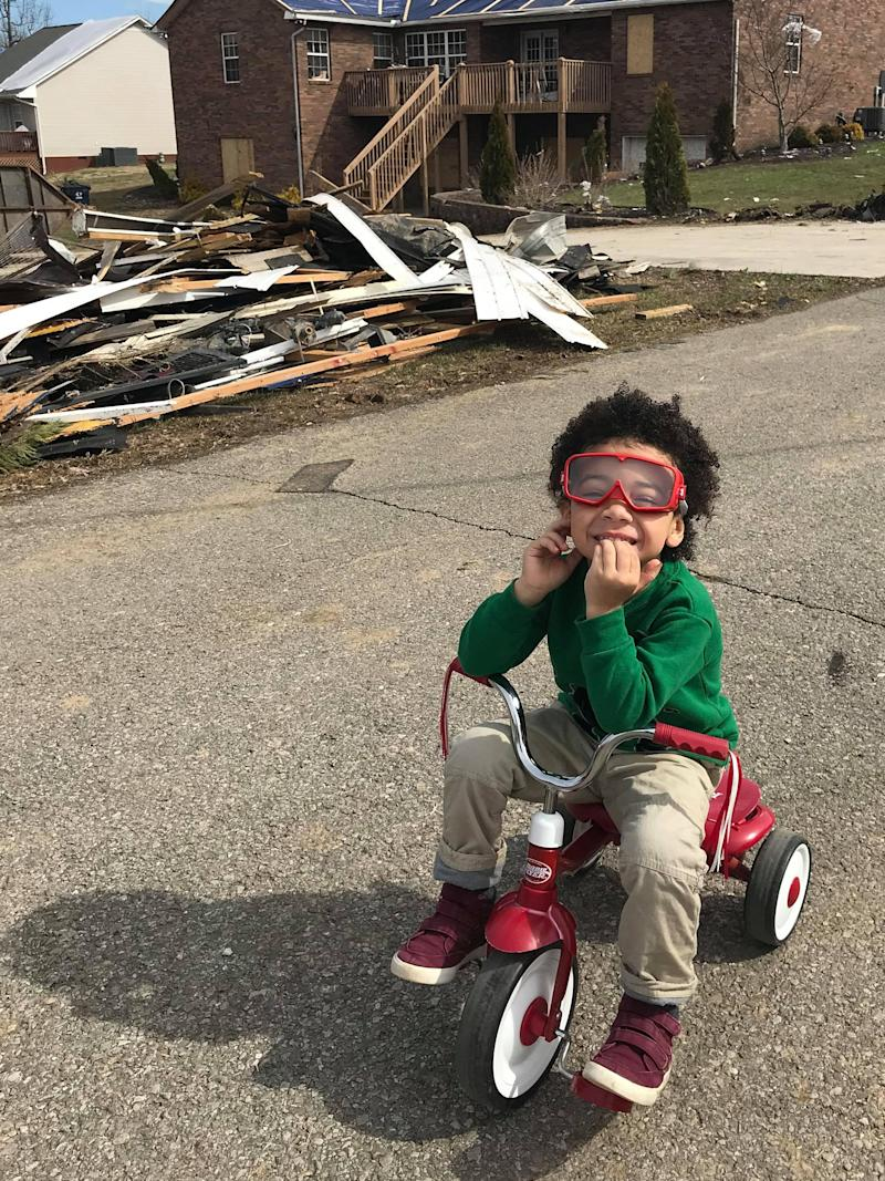 Dax on his tricycle in his family's neighborhood in Cookeville. (Susan Stout Dyer / WBIR)