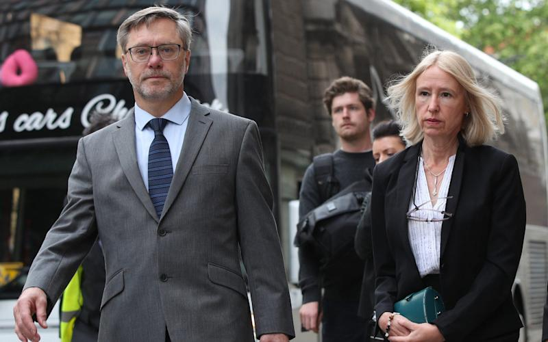 John Letts and Sally Lane arrive at the Old Bailey  - PA