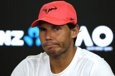 FILE PHOTO - Tennis - Australian Open - Quarterfinals - Rod Laver Arena, Melbourne, Australia, January 23, 2018. Spain's Rafael Nadal during a press conference after retiring from his match due to injury against Croatia's Marin Cilic. REUTERS/Edgar Su