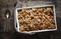 """<p>With apples in abundance at this time of year, what better than a good old apple crumble. Feel free to add all sorts of other seasonal fruit if you want to jazz it up. And don't forget the custard! Try <a href=""""https://www.gordonramsay.com/gr/recipes/apple-crumble/"""" rel=""""nofollow noopener"""" target=""""_blank"""" data-ylk=""""slk:Gordon Ramsay's"""" class=""""link rapid-noclick-resp"""">Gordon Ramsay's</a> recipe for this classic.[Photo: Rex] </p>"""