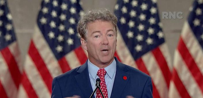 Sen. Rand Paul of Kentucky speaks during the Republican National Convention at the Mellon Auditorium in Washington, D.C., Tuesday, Aug. 25, 2020.
