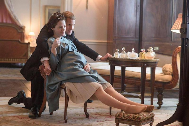 Matt Smith as Prince Philip with Claire Foy as Queen Elizabeth in Netflix drama The Crown