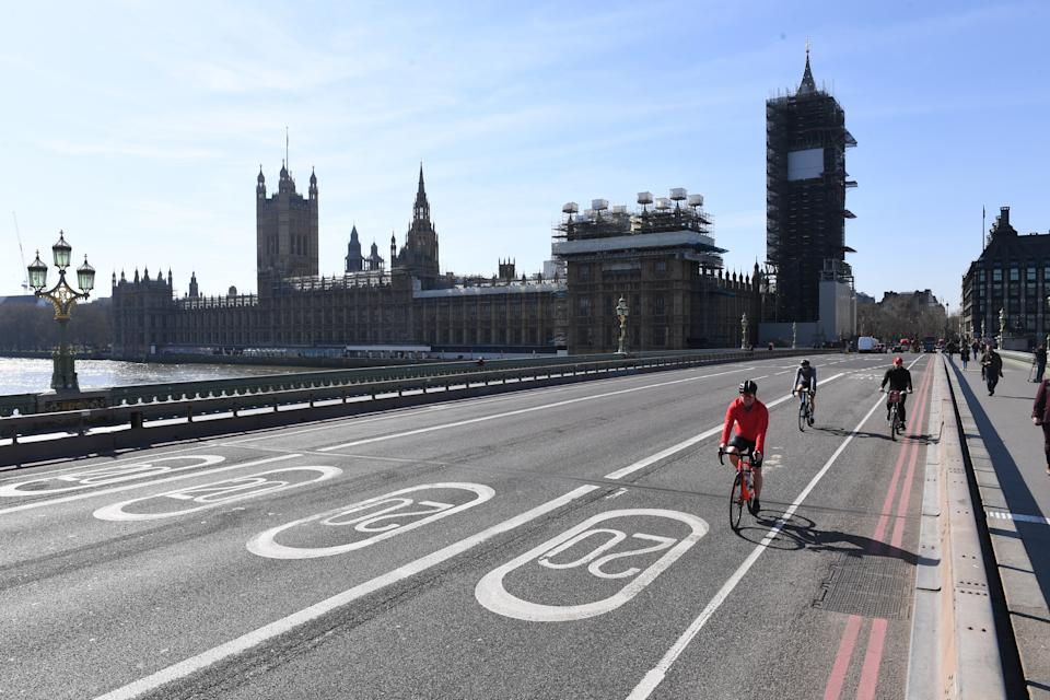 Embargoed to 0001 Monday May 18 File photo dated 24/03/20 of cyclists riding across an empty Westminster Bridge in Westminster, London, the day after Prime Minister Boris Johnson put the UK in lockdown to help curb the spread of the coronavirus. More than a third of people say they could rethink the way they travel after the coronavirus pandemic, a new survey suggests.