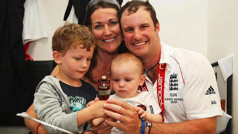 Andrew Strauss with wife Ruth and children Samuel and Luca after a Test in 2009. (Photo by Tom Shaw/Getty Images)