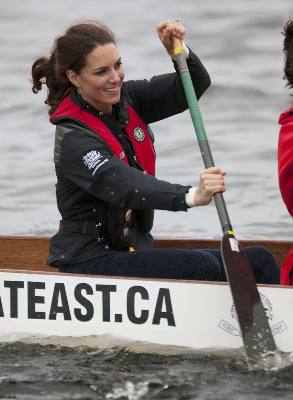 <p>Kate row, row, rowed her boat off the coast of Dalvay-by-the-Sea, Canada. She looked sporty in a zip-up and was of course seen wearing her life jacket. </p>