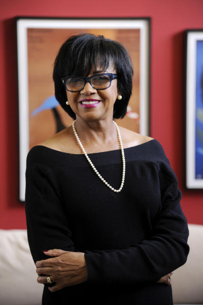 In this Wednesday, Feb. 19, 2014 photo, Cheryl Boone Isaacs, president of the Academy of Motion Picture Arts and Sciences, poses for a portrait in her office in Los Angeles. Isaacs has become the third female Academy of Motion Picture Arts and Sciences president and the first ever African-American head of the organization. (Photo by Chris Pizzello/Invision/AP)