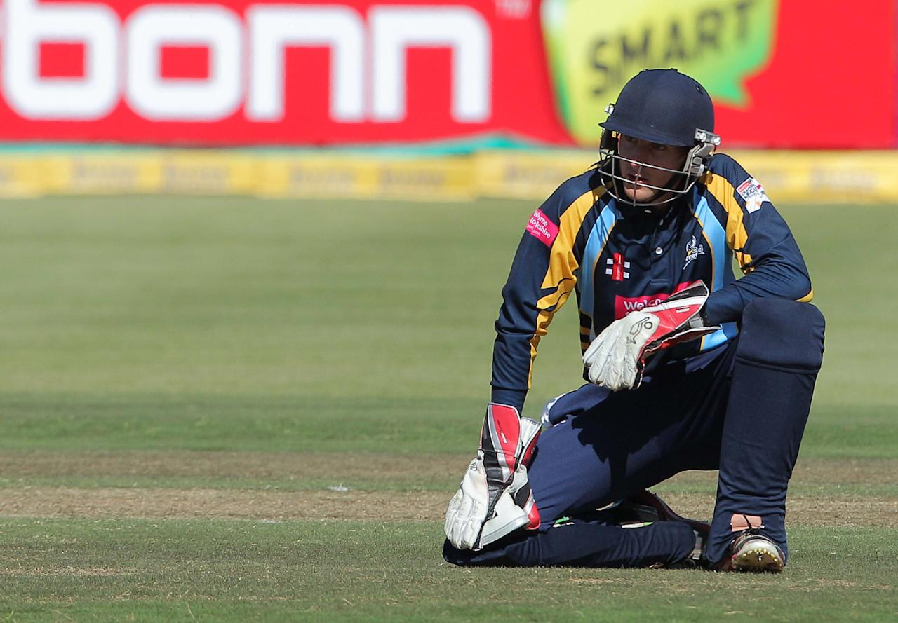 CAPE TOWN, SOUTH AFRCA - OCTOBER 16:  Dan Hodgson of Yorkshire Carnegie looks dejected during the Champions League twenty20 match between Sydney Sixers (Australia) and Yorkshire (England) at Sahara Park Newlands on October 16, 2012 in Cape Town, South Africa. (Photo by Carl Fourie / Gallo Images/Getty Images)