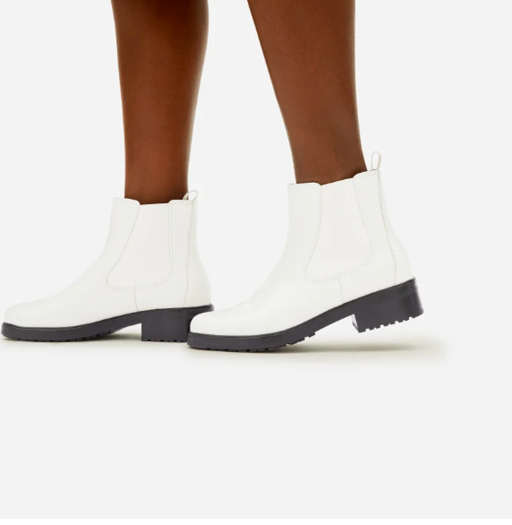 The Modern Utility Chelsea Boot in White. Image via Everlane.